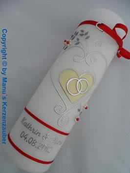 Hochzeitskerze klassisch HK208 Rot-Creme Uni-Silber