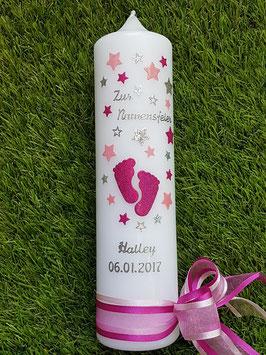 Taufkerze oder Namensweihe TK096 Große Füsschen Pink-Rosa-Silber Holoflitter