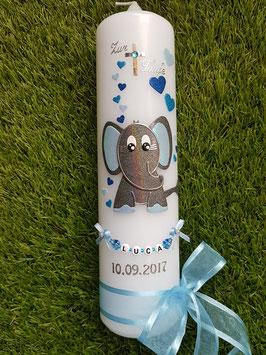 Taufkerze Elefant TK210-8 Anthrazit-Türkis-Hellblau-Dunkelblau Holoflitter mit Herzen/Schleife Hellblau