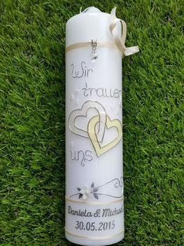 Hochzeitskerze Creme Holoflitter mit Creme Uni HK205 Wir sagen ja!
