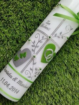 Hochzeitskerze HK109-1 Apfelgrün Holoflitter mit Silber