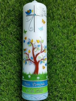 Taufkerzen Lebensbaum Türkis-Apfelgrün-Hellblau Flitter & Silberschrift TK400-U