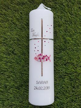 Taufkerze TK204 Kreuz Herzschuppenfisch & Swarovskisteinchen / Rosa-Altrosa-Pink-Silber Holoflitter