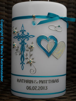 Doppelte Hochzeitskerze HKS206 Türkis Holoflitter mit Herzen