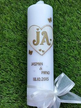 "Hochzeitskerze ""JA"" HK111 Creme Holoflitter & Gold"