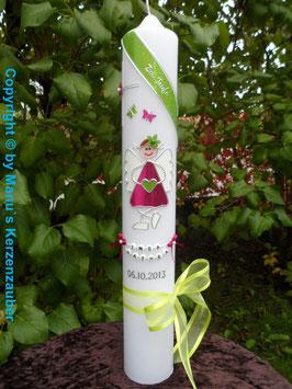 Taufkerze SK140 Schutzengel Mädchen Pink-Apfelgrün Holoflitter