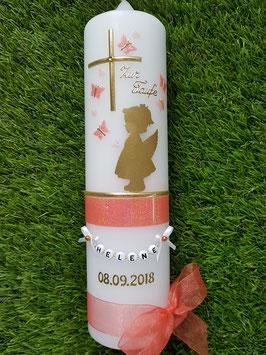 Taufkerze SK154-a SCHUTZENGEL mit Herzen in Gold mit Lachs & Apricot Holoflitter & Buchstabenkette / Schmetterlinge