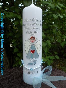 Geburtstagskerze GK314 Schutzengel Junge Hellblau