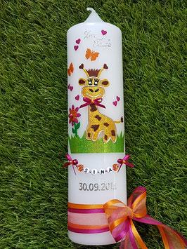 "Taufkerze TK278 ""Giraffe"" in Gelb-Braun-Pink-Orange Holoflitter"