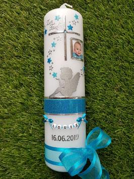 Taufkerze SK154-1 SCHUTZENGEL sitzend Türkis-Pastellblau Holoflitter & Silber mit Foto / Silberstreifen