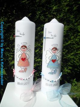 Zwillings Taufkerzen Schutzengel ZW-TK119 Mädchen oder Junge