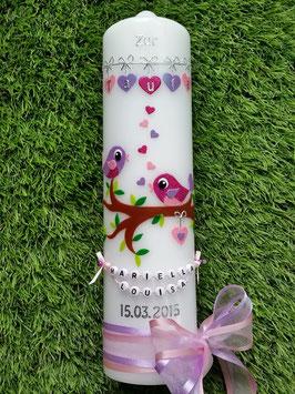 Taufkerze Vögelchen TK 214 Pink-Rosa-Flieder Flitter >> Schleifen Rosa-Flieder