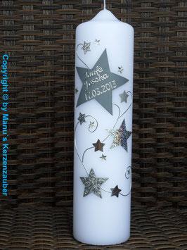 Taufkerze od. Kerze für Sternenkinder KSK300 Silber-Grau