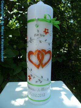Hochzeitskerze Apfelgrün-Orange HK204 Klassisch
