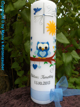 Taufkerze EULE das Original mit Silberschrift TK180 in Dunkelblau-Hellblau Flitter mit Sonne & Taube