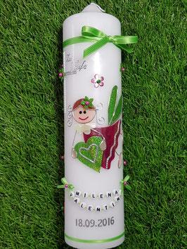 Taufkerze SK116 Schutzengel Mädchen Pink Marmoriert-Apfelgrün Holoflitter mit Blüten