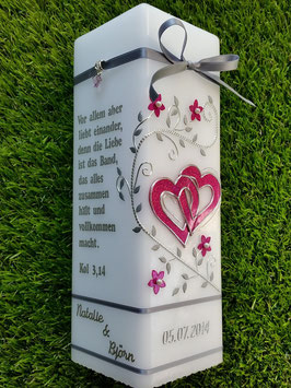 Hochzeitskerze HKS219 Silber Bänder Pink Holoflitter