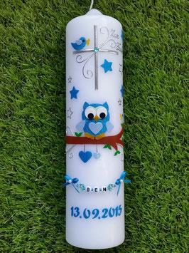 Taufkerze EULE das Original mit Kette & Sterne TK181 in Türkis-Hellblau Flitter ohne Schleife