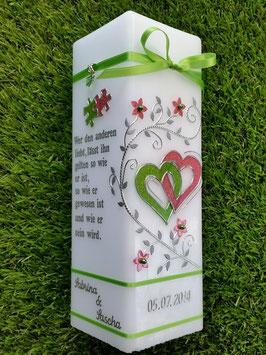 Hochzeitskerze HKS213 Apfelgrün-Altrosa Holoflitter & 2 Puzzle