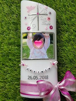 Taufkerze Kreuz & Foto TK100 Rosa-Pink Holoflitter / Taube Rosa / Doppelschleife