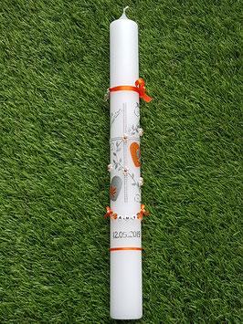 Kommunionkerze Kreuz TK109 Orange Holoflitter & Silber / Engel & Füsschen