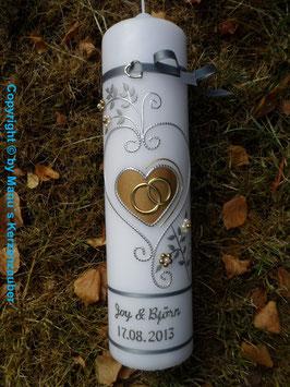 Hochzeitskerze klassisch HK208 Gold & Silber