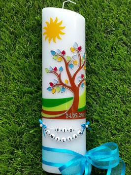 Taufkerze  Lebensbaum mit Sonne, Buchstabenkette & Türkises Satinband TK400