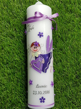 Taufkerze SK116 Schutzengel Mädchen Flieder-Dunkellila Flitter mit Blüten / Silberschrift