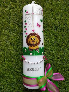 Taufkerze Löwe TK186 Braun-Gelb-Pink-Grasgrün Holoflitter mit Brauner Nase!