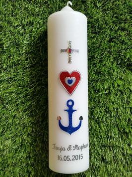 Hochzeitskerze HK116 Glaube Liebe Hoffnung Flitter Silberschrift