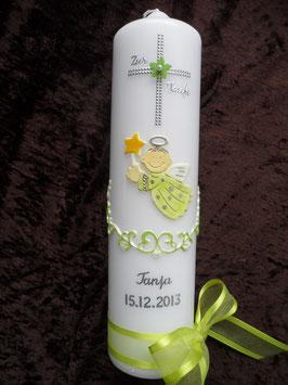 Taufkerze SK152 Kreuz mit SCHUTZENGEL Apfelgrün / Silberschrift