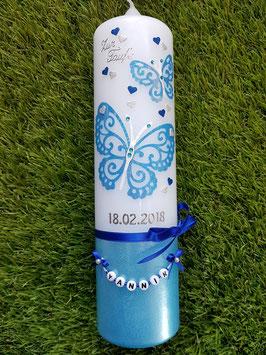 Taufkerze Schmetterling TK183-5-U Lichtblau-Dunkelblau-Silber Holoflitter