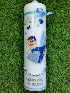 Taufkerze SK116 Schutzengel Hellblau-Dunkelblau Hololflitter mit Herzen & Schmetterlinge