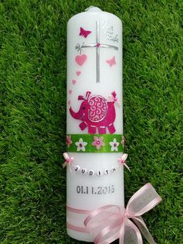 Taufkerze Elefant TK210-7 Pink-Rosa Holoflitter