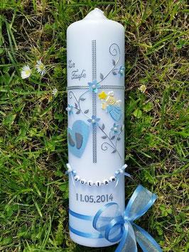 Taufkerze Kreuz TK109-5 Hellblau Flitter-Silber