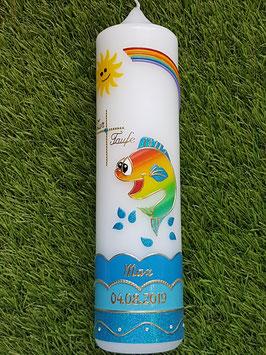 Taufkerze Lustiger Fisch TK195 Türkis / Gold
