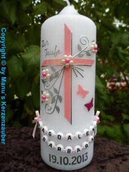 Patenkerze TK132 Schmetterlinge in Rosa-Pink-Silber