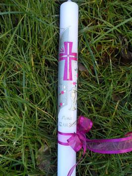 Kommunionkerze oder Konfirmationskerze KK263 Pink Holoflitter / Silberschrift