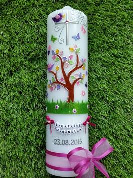 Taufkerzen  Lebensbaum mit Buchstabenkette in Pink TK400-2