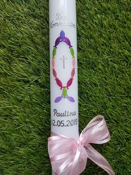 Kommunionkerze Konfirmationskerze Taufkerze KK267 in Regenbogen Farben / Mädchen