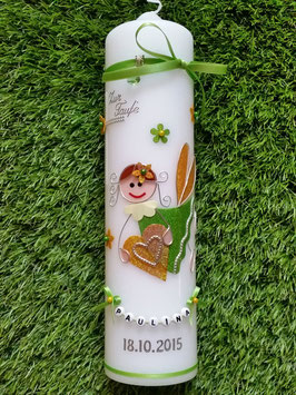Taufkerze SK116 Schutzengel Mädchen Apfelgrün-Gelb Holoflitter mit Blüten