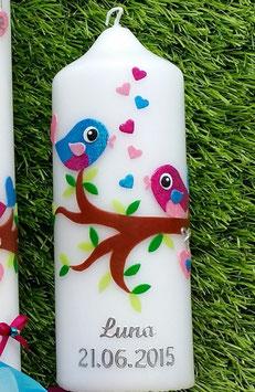 Patenkerze zur Taufkerze Vögelchen TK 214 Türkis-Pink-Rosa Flitter