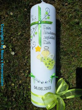 Taufkerze SK150 Schutzengel mit Kreuz Apfelgrün-Grün Holoflitter / Buchstabenkette / Satin-Organzaband