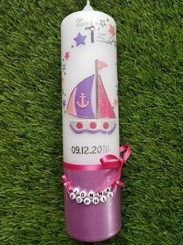 Taufkerze Boot TK314-U mit Sterne in Rosa-Flieder-Fuchsia Holoflitter