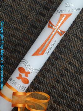 Kommunion - Konfirmationskerze KK609 Orange
