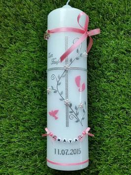 Taufkerze TK109 Klassisch Rosa Flitter & Buchstabenkette ohne Herzen