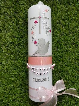 Taufkerze SK154-1 SCHUTZENGEL sitzend Zartrosa-Pink Holoflitter & Silber