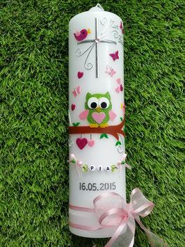 Taufkerze EULE das Original mit Buchstabenkette TK181 in Apfelgrün-Rosa-Pink Flitter / Rosa Schleifen