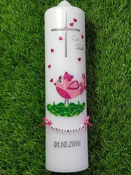 Taufkerze Vögelchen TK178 Rosa-Pink Flitter / Ohne Band