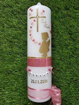 Taufkerze SK154-a SCHUTZENGEL mit Herzen in Gold mit Altrosa & Zartrosa Holoflitter & Buchstabenkette / Schmetterlinge & Herzen